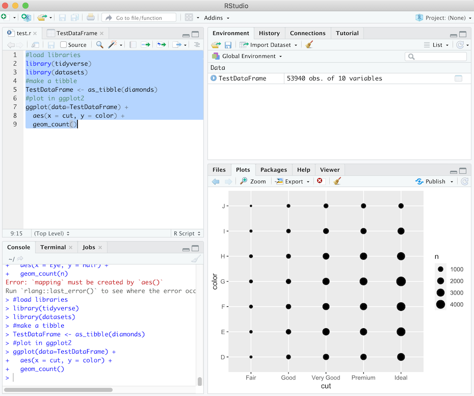 RStudio screen after running test script.