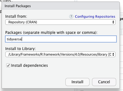 RStudio 'install packages' screen.
